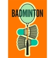 badminton typographic vintage style poster vector image