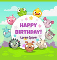 birthday greeting card with funny cartoon round vector image
