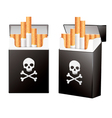 Black pack of cigarettes with the image of the vector image