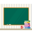 Books on desk Clean board Back to school vector image vector image