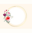 bouquet watercolor flower on circular golden vector image