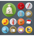 Business and office long shadow icon set vector image vector image