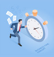 business time concepts businessman running vector image vector image