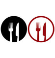 cafe sign with fork plate and knife vector image
