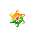 circle curve star logo vector image vector image