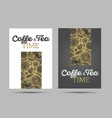 coffee time and tea time posters with pattern vector image