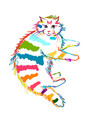 colorful cat sketch for your design vector image