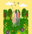 couple on meadow flowering plants flying birds vector image vector image