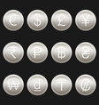 currency coins symbols icons metallic platinum set vector image vector image