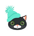 cute black cat head in turquoise knitted hat vector image vector image