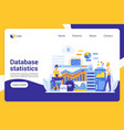 database statistics flat landing page vector image vector image