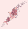 delicate pink rose and buds on a black background vector image vector image