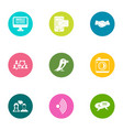 discuss icons set flat style vector image vector image