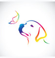 doglabrador and butterfly on white background vector image vector image