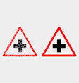 dotted and flat medical warning triangle vector image vector image
