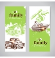 Family vacation vintage banner set with hand drawn vector image vector image