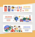flat summer travel horizontal banners vector image