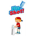flu shot font design with a boy washing his hands vector image