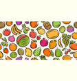 fruits seamless background food cartoon vector image