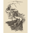 Great Wall of China Vintage Engraved vector image vector image