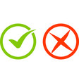 green and red checkmark isolated vector image vector image