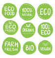 green eco food labels health headings collection vector image