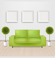 green sofa bed with and picture frame vector image
