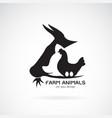 group of animal farm label cowpigchickenegg logo vector image vector image