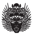 hand drawn gorgon with skull and wings in hand vector image