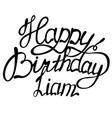 happy birthday liam name lettering vector image vector image