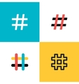 Hashtags icon set Flat style vector image vector image