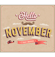 Hello november typographic design vector image vector image