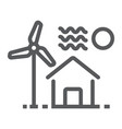 house with windmill line icon real estate vector image