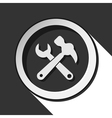icon - claw hammer with spanner and shadow vector image vector image