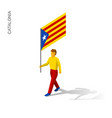 isometric man with flag of vector image