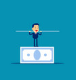 man balancing on banknote concept business vector image vector image
