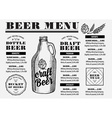 Menu beer restaurant alcohol template placemat vector image vector image