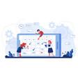 online schedule cartoon business people vector image