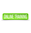 online training green 3d realistic square vector image vector image