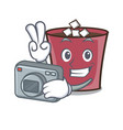 photographer hot chocolate mascot cartoon vector image vector image