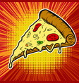 pizza on pop art background vector image vector image