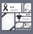 realistic detailed 3d black mourning symbols empty vector image vector image
