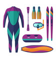 sea water sports and activities equipment vector image vector image