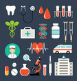 set medical icons analyzes examinations vector image vector image