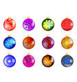 set of 12 christmas balls vector image