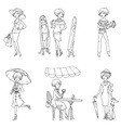 Set of Fashion Girls vector image vector image