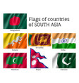 set of flags of south asia vector image vector image