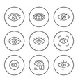 set round line icons eye vector image vector image