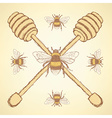 Sketch honey stick and bee in vintage style vector image vector image