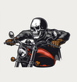 skull head racer riding motorcycle vector image vector image
